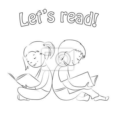 Kinder, die bücher lesen - umreißen. malvorlage. leinwandbilder ...