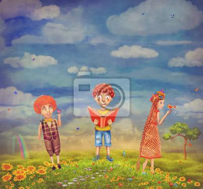 Kinder fühlen sich glücklich auf einem Hügel, bunte Karikatur
