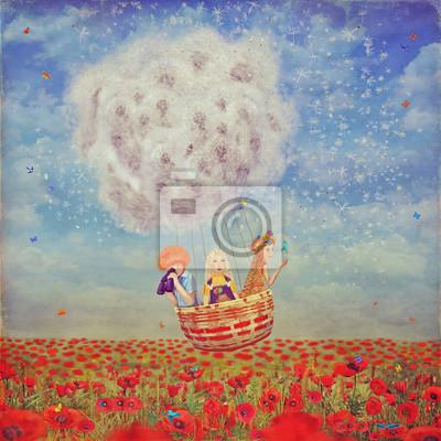 Kinder in einem Ballon über die schöne Landschaft mit Mohnblumen gegen den Himmel mit Wolken, Illustration Kunst