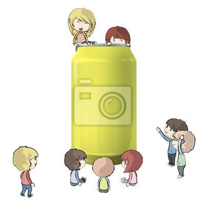 Bild Kinder um Tin. Vector design