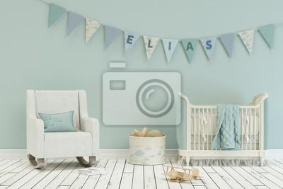 Bild: Kinderzimmer mit wimpelgirlande - name elias