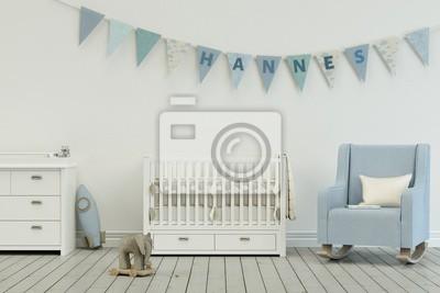 Kinderzimmer mit wimpelgirlande - name hannes leinwandbilder ...