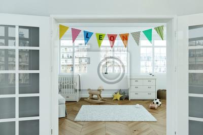 Kinderzimmer mit wimpelgirlande - name leon leinwandbilder • bilder ...