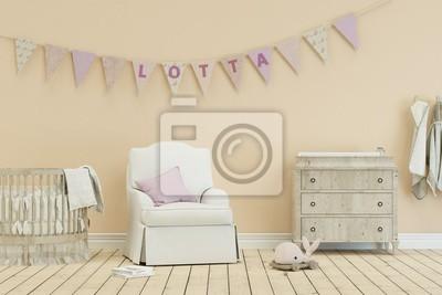 Kinderzimmer mit wimpelgirlande - name lotta leinwandbilder • bilder ...