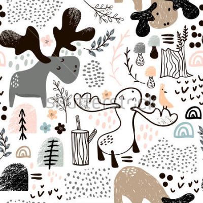 Bild Kindisches nahtloses Muster mit Elchen in den hölzernen und abstrakten Formen. Modischer skandinavischer Vektorhintergrund. Perfekt für Kinderkleidung, Stoffe, Textilien, Kinderzimmerdekoration, Gesch