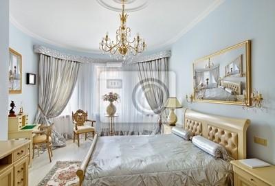 Klassische luxus-schlafzimmer interieur in blau und silber farben ...