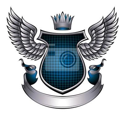 Klassische Metallic geflügelten Emblem.