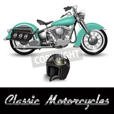 Bild Klassisches Motorrad und Helm mit Schutzbrille. Vektor-Illustration