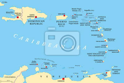 Aruba Karte Karibik.Bild Kleine Antillen Politische Karte Die Karibik Mit Haiti Die
