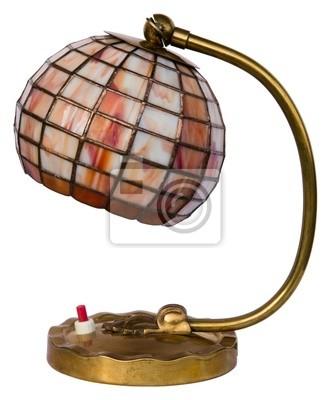 Bild Kleine braune Glasmalerei Lampe isoliert auf weißem Hintergrund