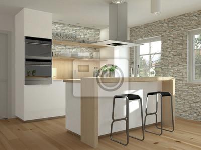 Kleine Einbaukuche Mit Holz Und Kochtheke Leinwandbilder Bilder