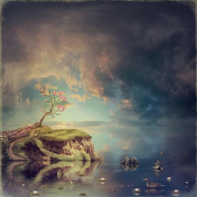 Kleine Insel mit einem Baum der Sakura auf dem Fluss