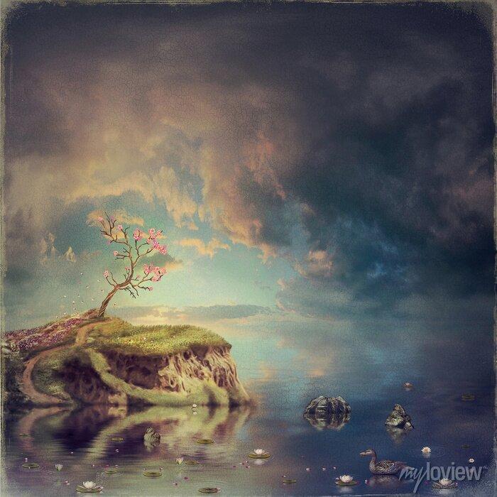 Bild Kleine Insel mit einem Baum der Sakura auf dem Fluss