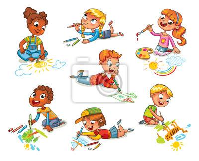 Kleine kinder zeichnen bilder bleistifte und farben leinwandbilder ...