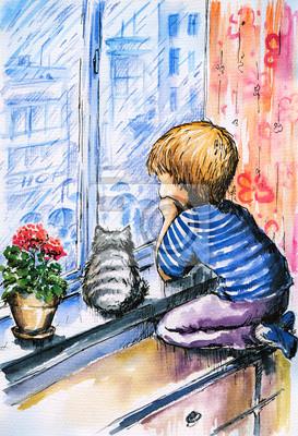 kleiner Junge beobachtete den regen durch das Fenster