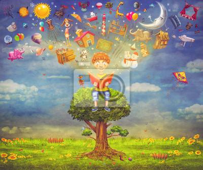 Kleiner Junge sitzt auf dem Baum und ein Buch zu lesen, Objekte fliegen