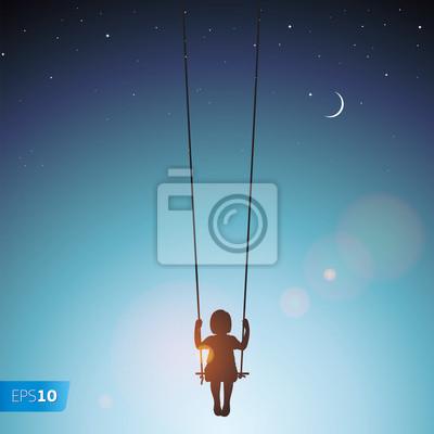 Kleines Mädchen auf einer Schaukel, EPS 10 Illustration