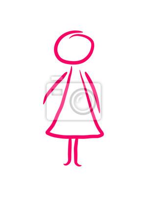 Kleines Mädchen Frau Strichmännchen Leinwandbilder Bilder