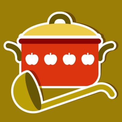 Bild Kochtopf und Pfanne. Vector Küche Symbole