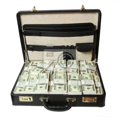 Koffer voller Dollar auf weißem Hintergrund