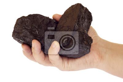 Bild Kohle, Kohlenstoff-Nuggets in der Hand getrennt