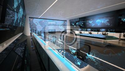 Bild Kommandozentrale, Kontrollraum, futuristisches Design, Smart Cities, Rechenzentrum, Kryptowährung