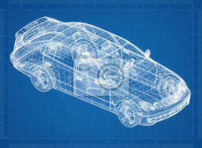 Konzept auto blaupause - 3d perspektive leinwandbilder • bilder ...