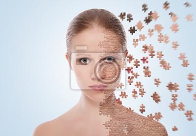 Bild Konzept der kosmetischen Wirkungen, Behandlung und Pflege der Haut. Gesicht von y