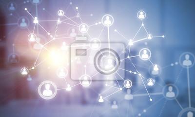 Bild Konzept der Vernetzung und der Verbindung gegen modernes Büro verwischte Hintergrund