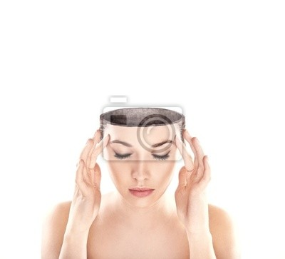 Konzeptionelle Bild einer Open minded Frau, viele textfreiraum