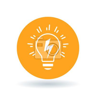 Konzeptionelle glühbirne idee-symbol. glühbirne blitz zeichen ...