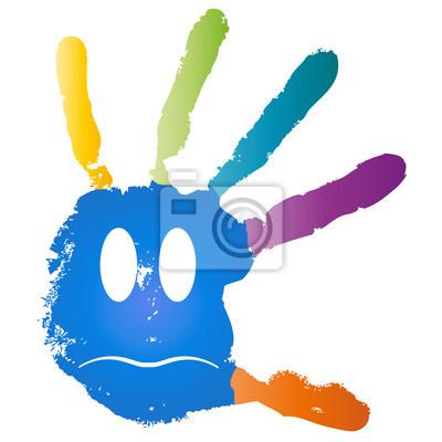 Konzeptionelle Kinder Gemalt Handabdruck Und Lacheln Gesicht