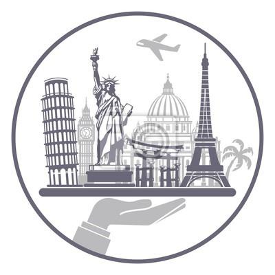Konzeptionelle Symbol für Reisen auf der ganzen Welt