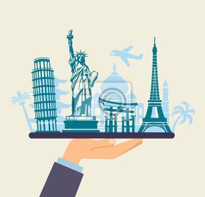 Konzeptionelles Symbol für Reisen auf der ganzen Welt