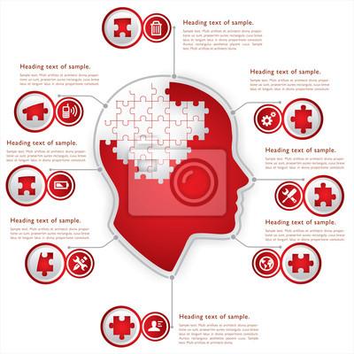 Kopf mit Puzzle-Konzept zu denken,