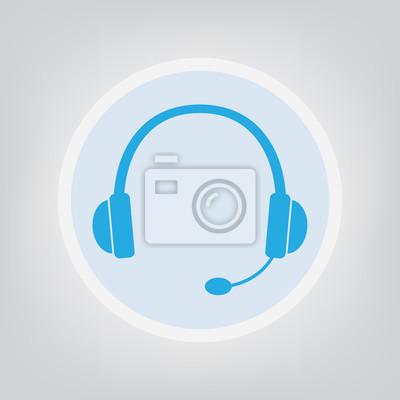 Kopfhörer mit mikrofon symbol - vektor-illustration leinwandbilder ...