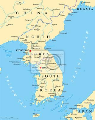 Südkorea Karte.Bild Koreanische Halbinsel Politische Karte Mit Nord Und Südkorea