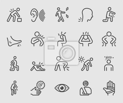 Bild Körper Schmerzen und Verletzung Linie Symbol