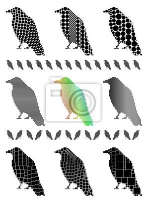 Krähe Silhouette Mosaik-Set