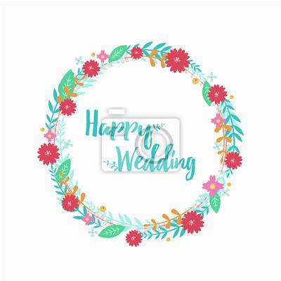 Kranz Aus Blumen Hochzeitskranz Hochzeit Dekor Vektor Flache