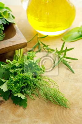 Kräuter und Olivenöl