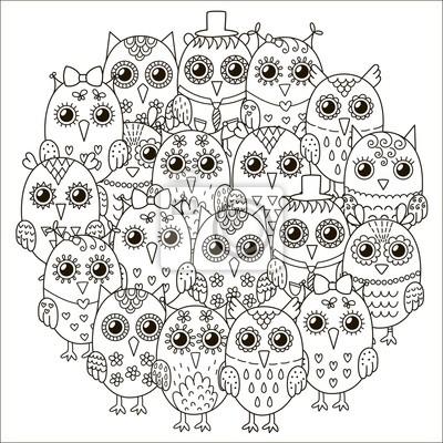 Bild Kreisform Muster Mit Niedlichen Eulen Zum Ausmalen Buch