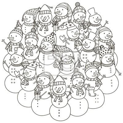 Kreisform muster mit niedlichen schneemänner für malbuch ...
