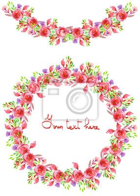Bild Kreisrahmen, Kranz und Girlande der purpurroten und roten Blumen und der Zweige mit den grünen Blättern gemalt im Aquarell auf einem weißen Hintergrund, Grußkarte, Dekorationpostkarte oder -einladung