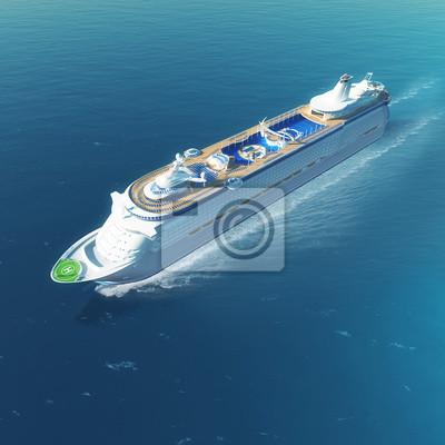 Kreuzfahrtschiff mit Hubschrauberlandeplatz und Pools Segeln auf dem Meer