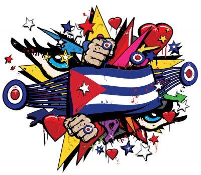 Bild Kuba Flagge Havanna Graffiti Banner Graff Emblem Straße Kunst Streamer Jacksignatur farbigen kubanischen Revolution Graff Vektor Spray