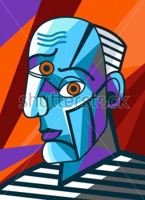 Bild kubistische große Malergesichtsporträtmalerei