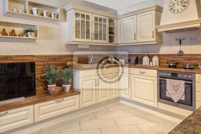 Küche, einbauküche, küchenherd, essen, schöner wohnen leinwandbilder ...