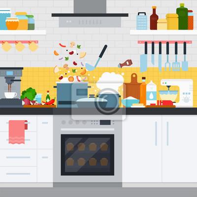Küche mit geschirr und geschirr, hausmannskost leinwandbilder ...
