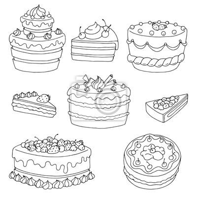 Kuchen Dessert Grafik Schwarz Weiss Isoliert Satz Vektor Illustration
